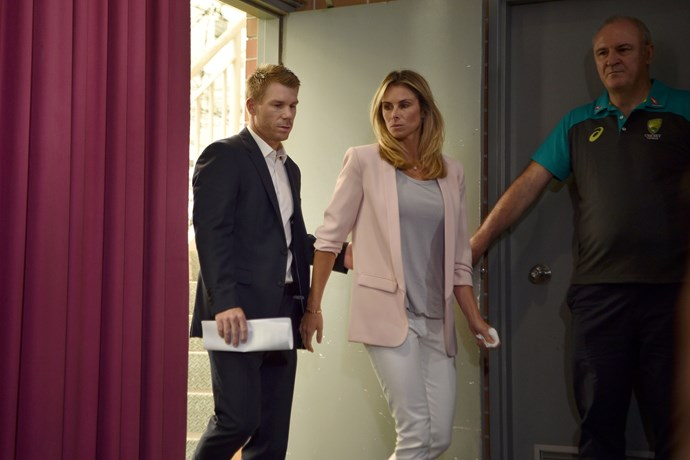 David and Candice arriving at the press conference at the Sydney Cricket Ground after returning from South Africa.