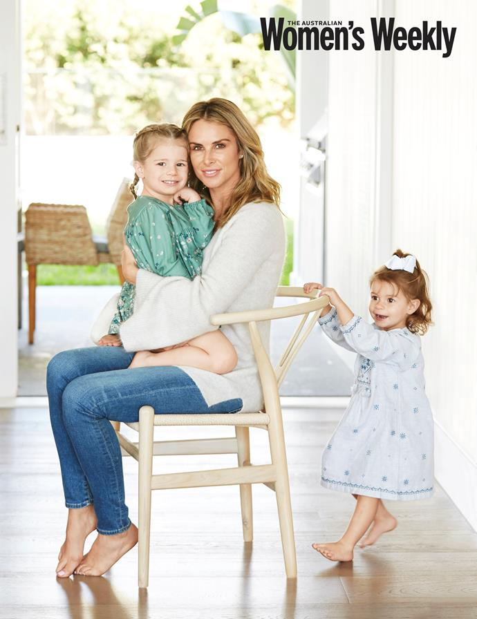 Three-year-old Ivy Mae and two-year-old Indi Rae with their mum Candice. *(Source: The Australian Women's Weekly)*