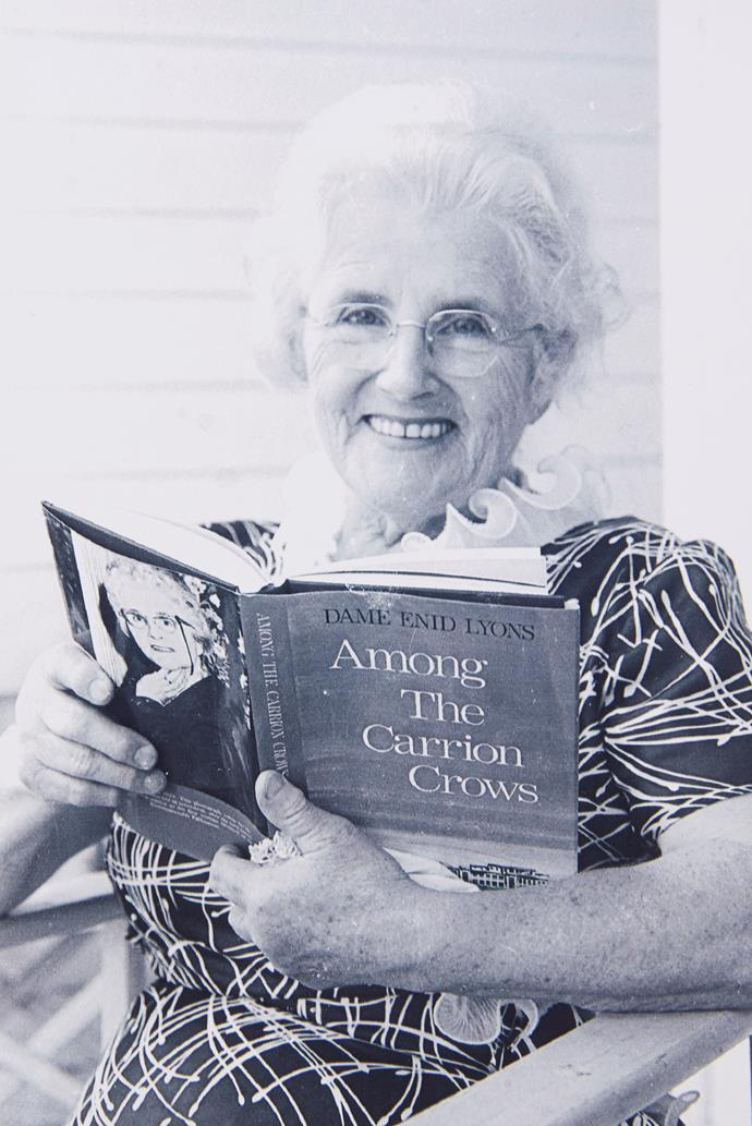 Enid Lyons with one of her books.