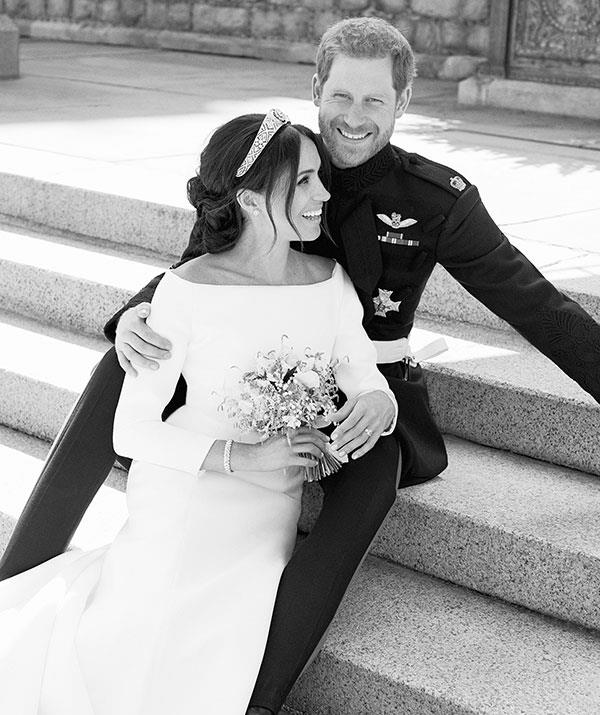 The stunning photo was one of three official shots released by the palace following the couple's nuptials.
