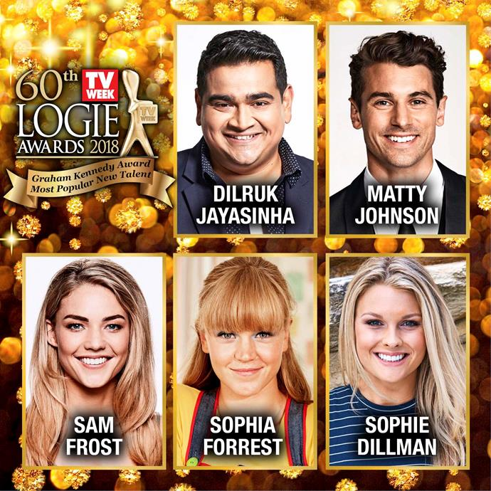 The 2018 TV Week Logies nominees for the Graham Kennedy Award for Most Popular New Talent.