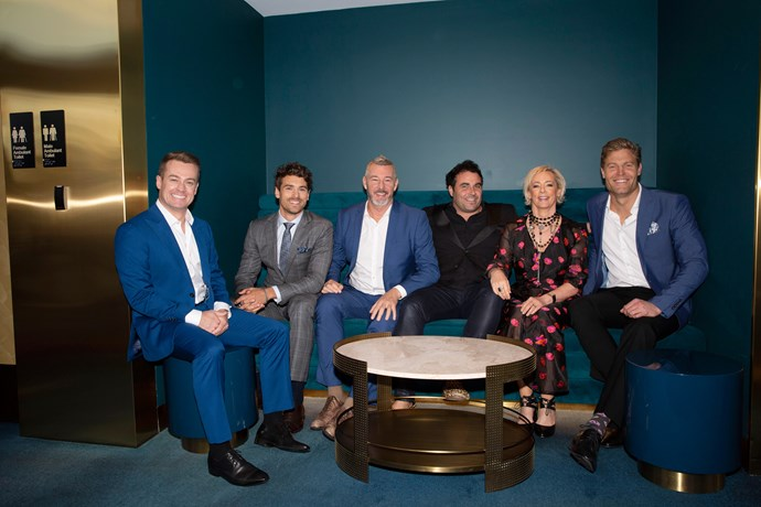 Barry Du Bois, Miguel Maestre, Amanda Keller and Chris Brown sit with *The Living Room* guest host Matty J and Gold Logie Nominee Grant Denyer.