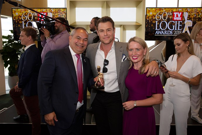 Rodger Corser celebrates his Gold Logie nomination with Queensland Minister for Tourism Industry Development Kate Jones and City of Gold Coast Mayor Tom Tate.