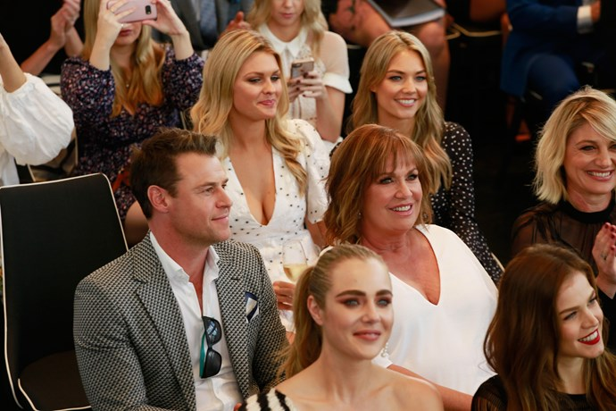 Rodger Corser, Tracy Grimshaw, Tara Brown, Jessica Marais, Sophia Forrest, Sophie Dillman, and Sam Frost listen to the nominees being announced.