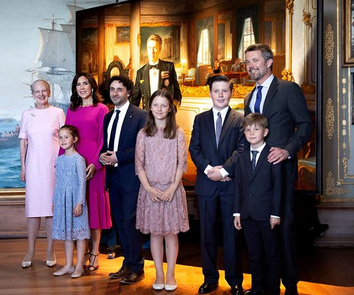 Crown Prince joined by his wife, Crown Princess Mary and their four children Prince Christian, 12, Princess Josephine, 10, and twins Princess Isabella and Prince Vincent, seven, as well as his mother, Queen Margrethe for the big reveal.
