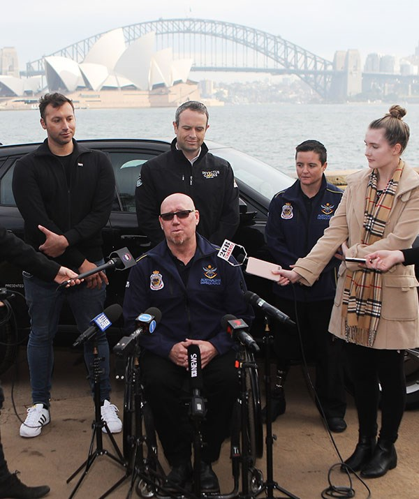 Athletes Jeff Wright (centre), Corporal Sonya Newman (second from right), and Ian Thorpe (far left) at this morning's ticketing launch.