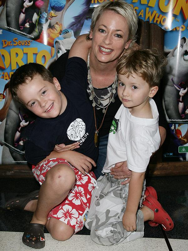 The proud mum with her two gems, pictured in 2008.