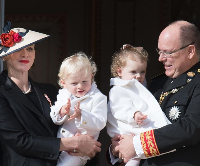 Albert, pictured with Charlene, Jacques and Gabriella, has four children. But his youngest child Jacques will inherit the throne.