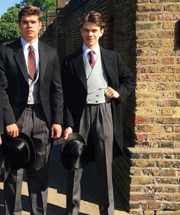 (L-R) Arthur with his older brother Sam cut a dapper duo at the royal wedding.