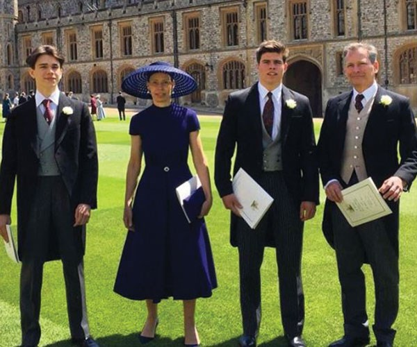 The Chatto family (Sam, Sarah, Arthur and Daniel Chatto) at Prince Harry and Meghan Markle's wedding last month.