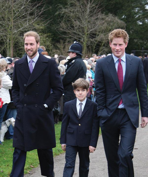 A cousin power trio: William, Arthur and Harry attend the annual Christmas Day service in 2008.