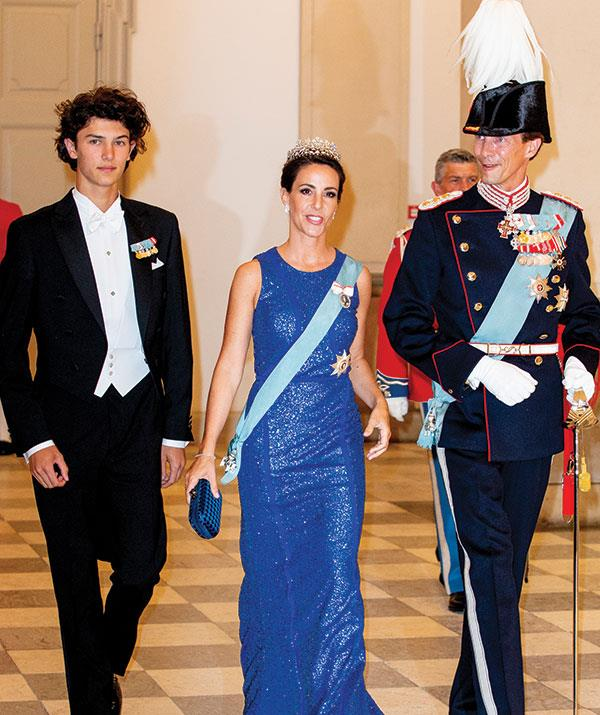 Prince Nikolai of Denmark with his step-mother Princess Marie of Denmark and Prince Joachim of Denmark at Prince Fred's 50th birthday bash.
