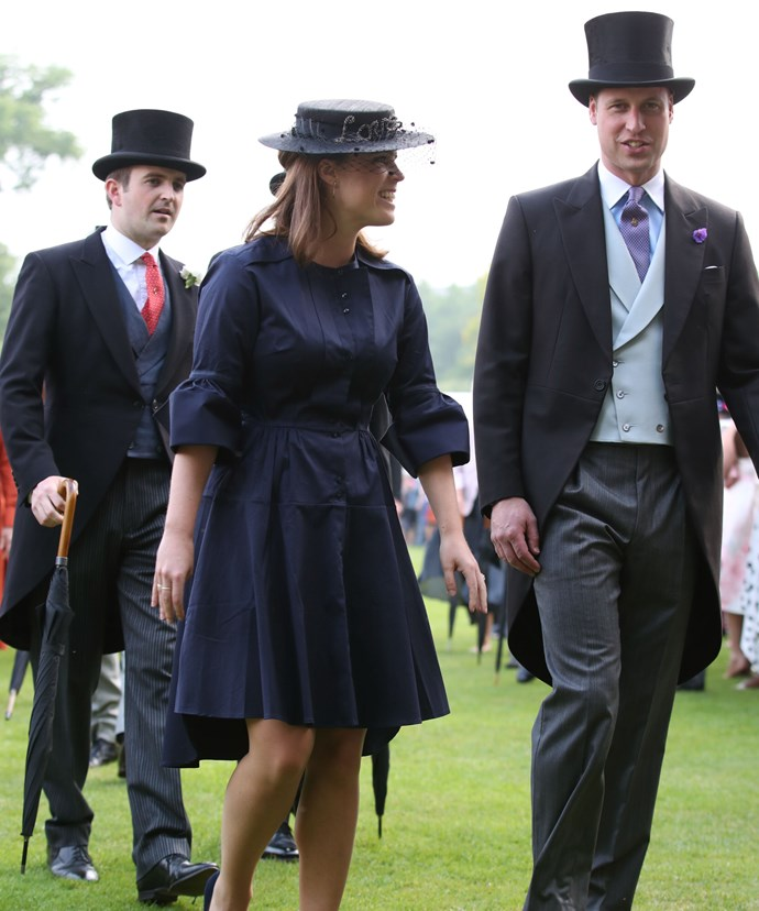 Eugenie was all smiles as she attended a garden party alongside cousin Prince William (R) at Buckingham Palace on Thursday.