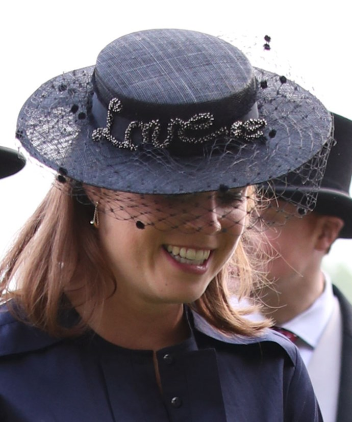She paid tribute to her husband-to-be Jack Brooksbank with a statement fascinator by Misa Harada.
