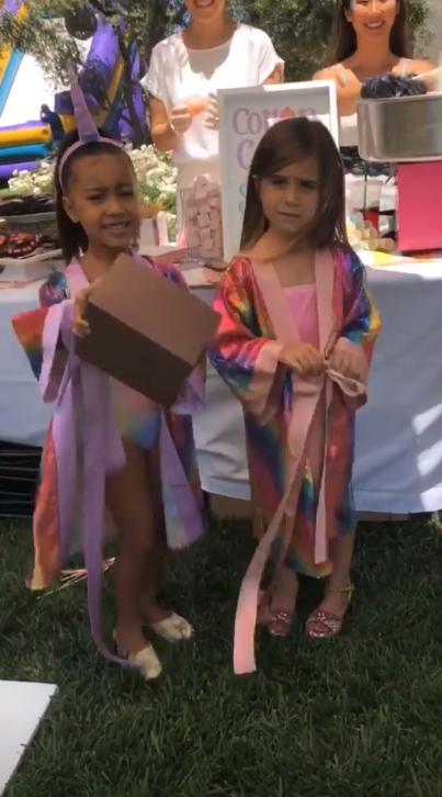 The rainbow-clad birthday girls.
