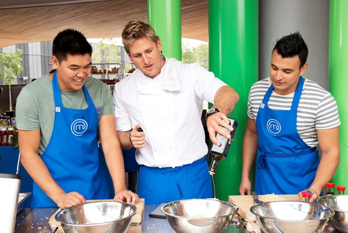 Curtis with *MasterChef Australia* contestants in 2013.