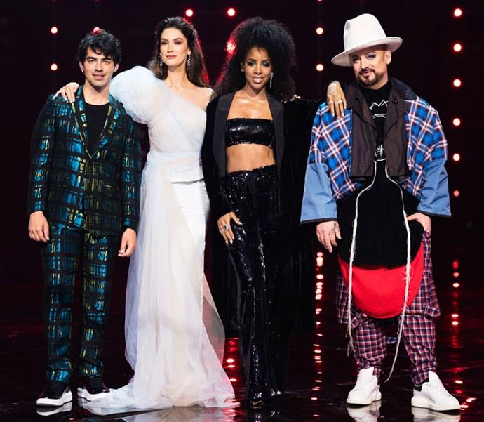 *The Voice Australia* coaches Joe Jonas, Delta Goodrem, Kelly Rowland and Boy George.