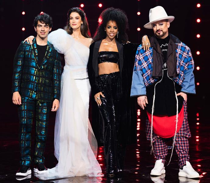 *The Voice Australia* coaches Joe Jonas, Delta Goodrem, Kelly Rowland and Boy George.