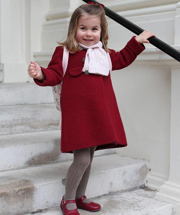 What a shot! Proud mum Duchess Catherine captured this snap of Charlotte on her first day of nursery school back in January.