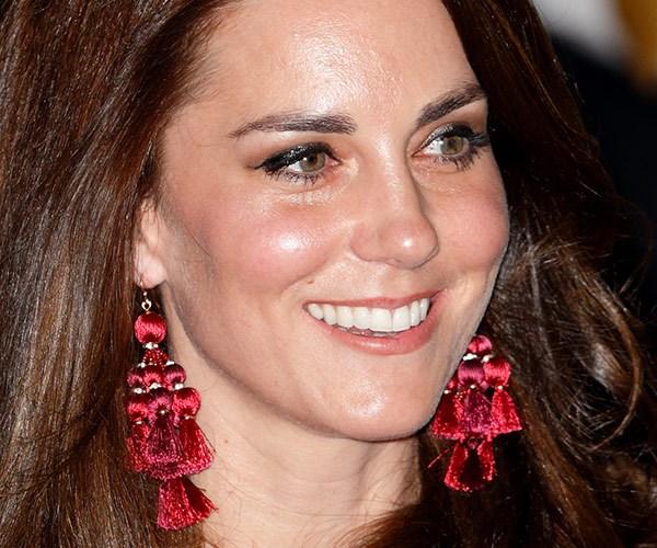 Catherine rocked Kate Spade red chandelier earrings.