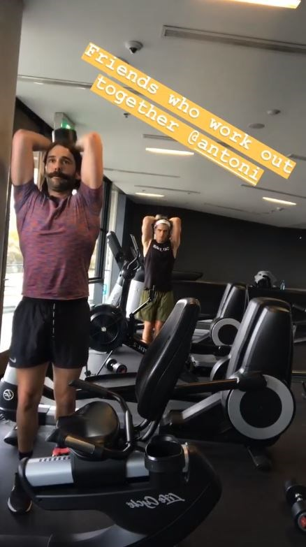 Jonathan and Antoni worked up a sweat in the gym.