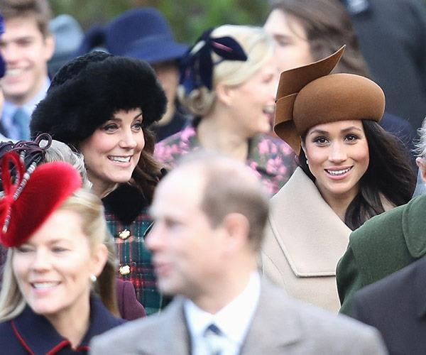 Kate and Meghan walked side by side following the Christmas Day service in 2017.