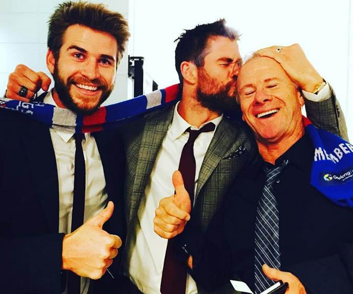 Liam and Chris Hemsworth with their dad.