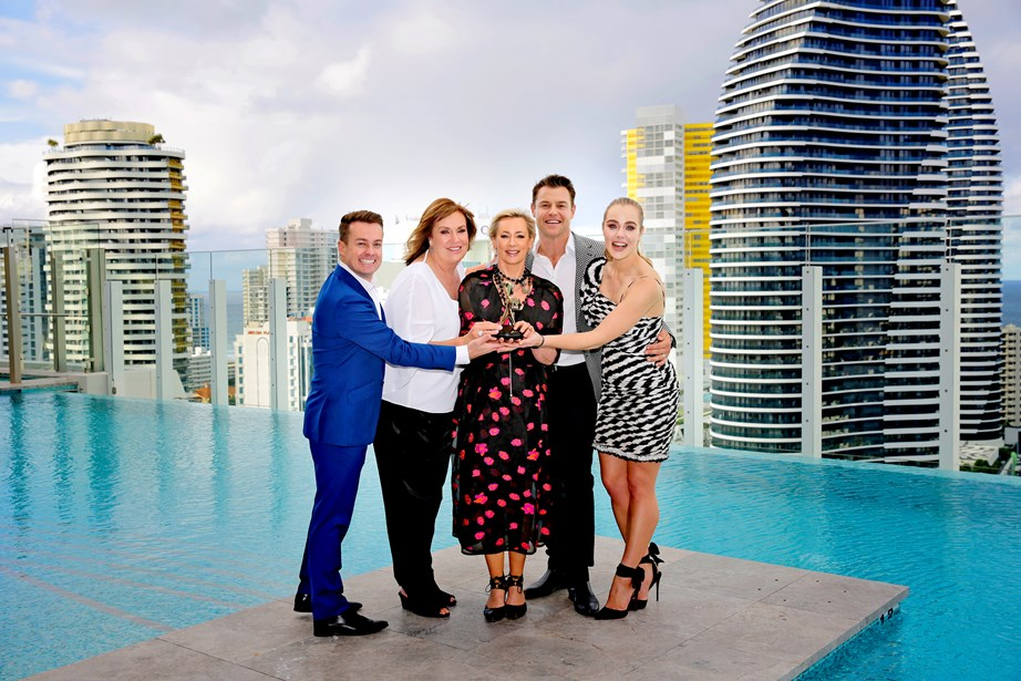 Jess and her fellow 2018 Gold Logie nominees Grant Denyer, Tracey Grimshaw, Amanda Keller and Rodger Corser.