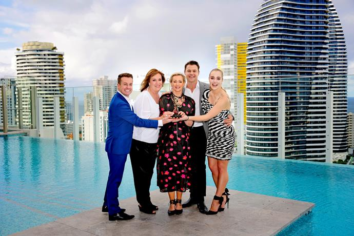 Grant Denyer, Tracy Grimshaw, Amanda Keller, Rodger Corser, Jessica Marais and Andrew Winter (not pictured) will compete for the prestigious Gold Logie Award on the night.