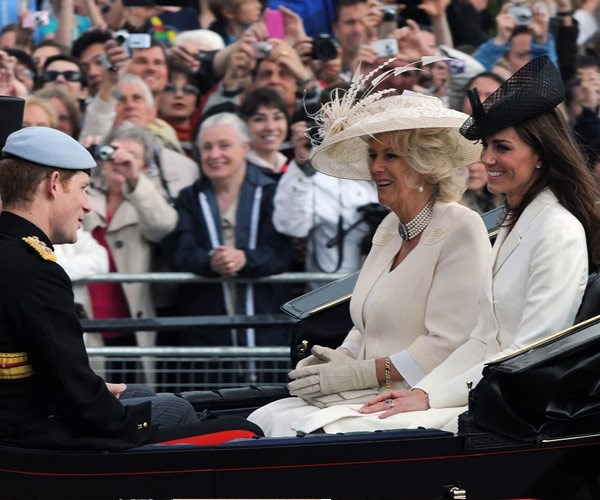 Catherine traveled with Camilla and Harry.