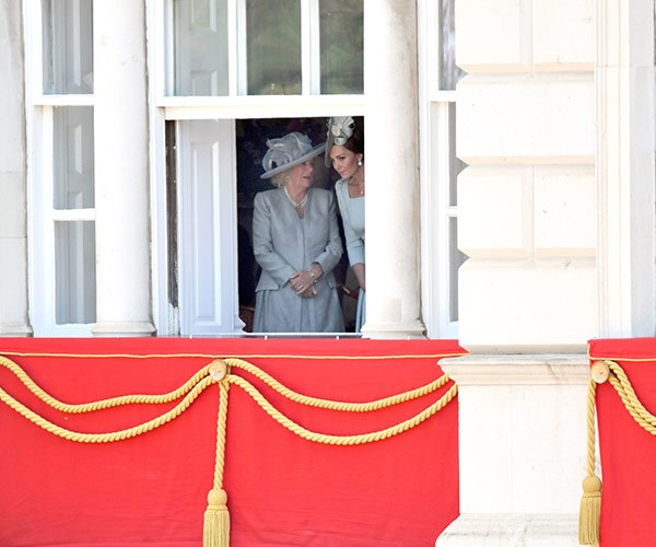 Kate and Camilla take a look at the crowds...