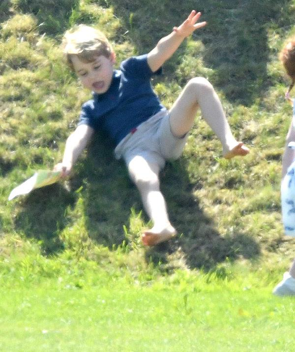 Prince George had a hoot rolling down the hill.