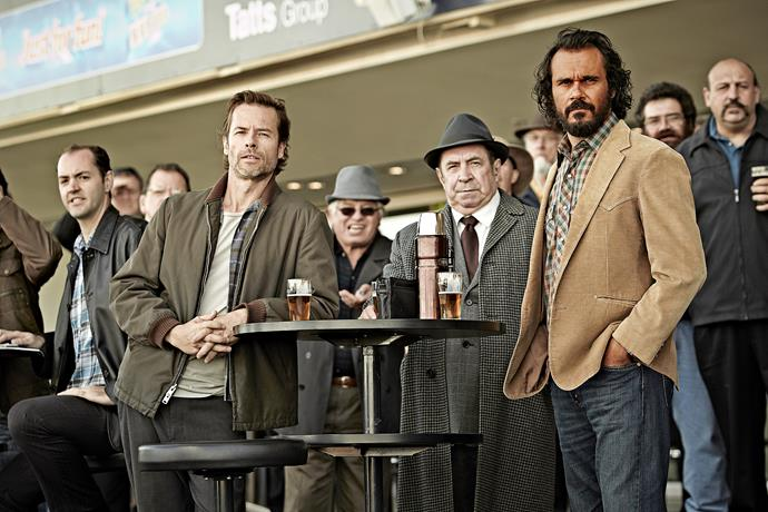 Aaron is due to return to his role as Cam in *Jack Irish* soon, where he stars alongside Guy Pearce (far left) and Roy Billing.