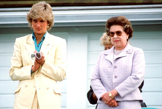Princess Diana with then-mother-in-law the Queen watching a very serious round of polo in Windsor.