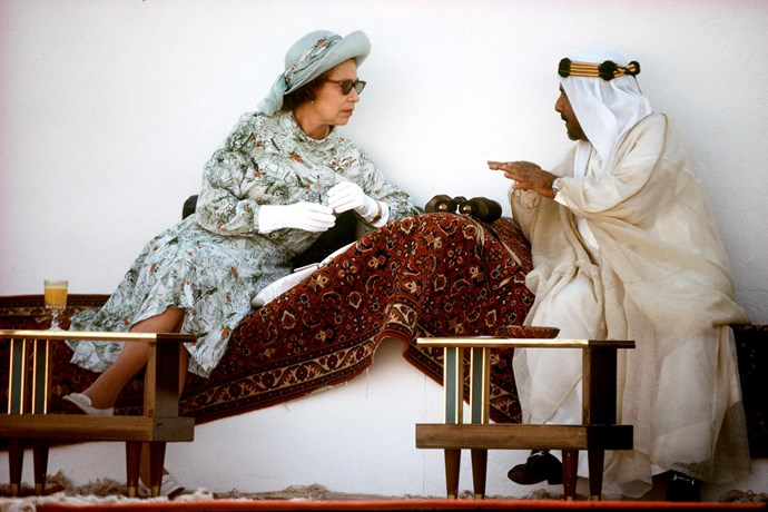 The Queen, looking suave as ever, hung out with The Emir Of Bahrain (amir) in Bahrain back in 1979.
