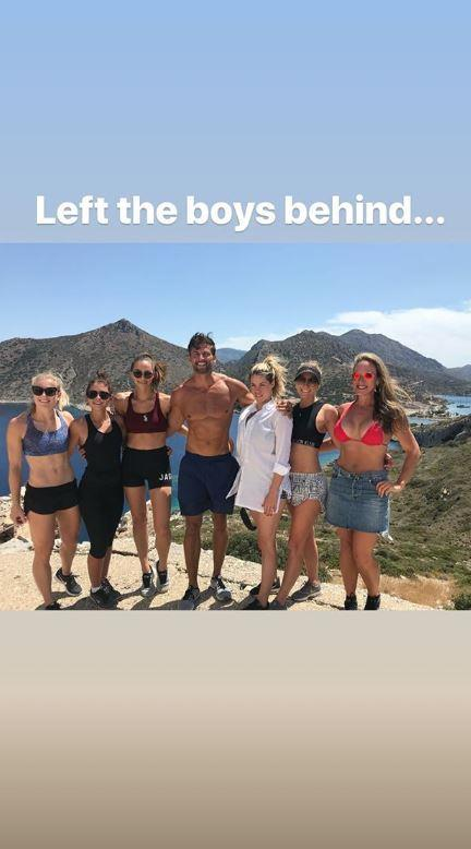 Tim and some of the girls, including Anna's sister Charlotte, on their hike.
