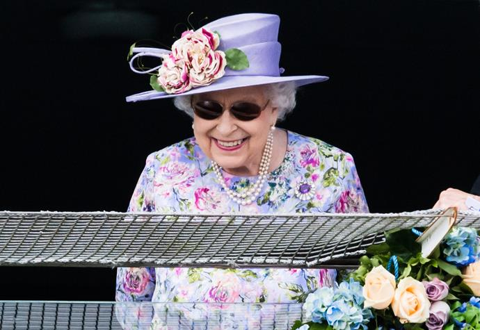 There's a happy Queen! Not a squint-at-the-track to be seen and all smiles at the Epsom Derby in England in June, 2018.