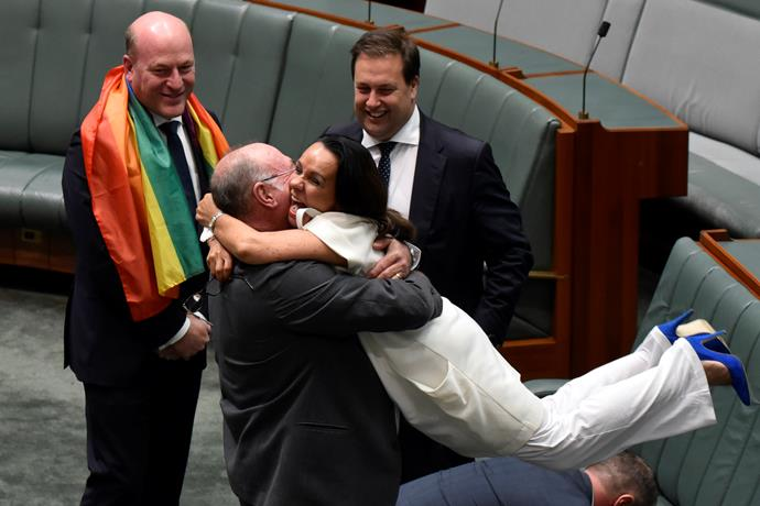 Warren Entsch and Linda Burney MP celebrate the legalisation of same-sex marriage at Parliament House on 7 December 2017.