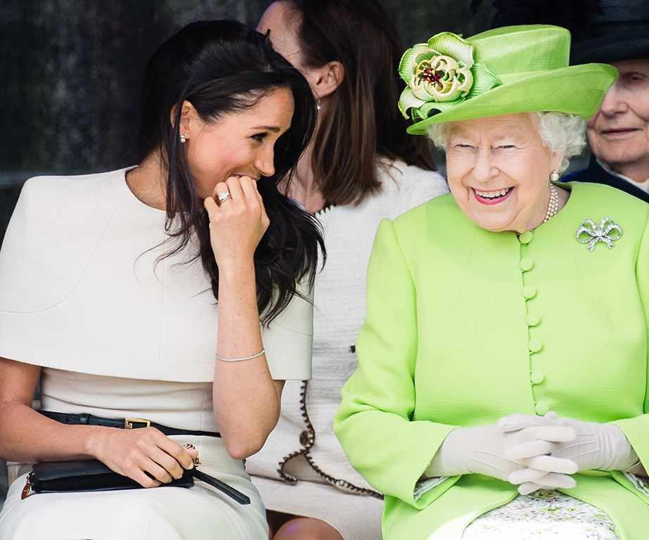 Meghan and the Queen laughing along in Cheshire.