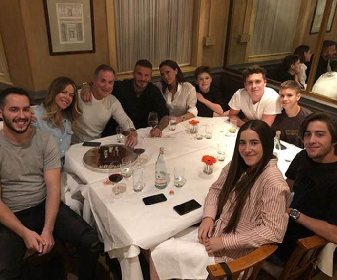 "David Beckham's most recent social post shows him surrounded by his family. ""All about families and memories,"" the former footballer captioned the snap."