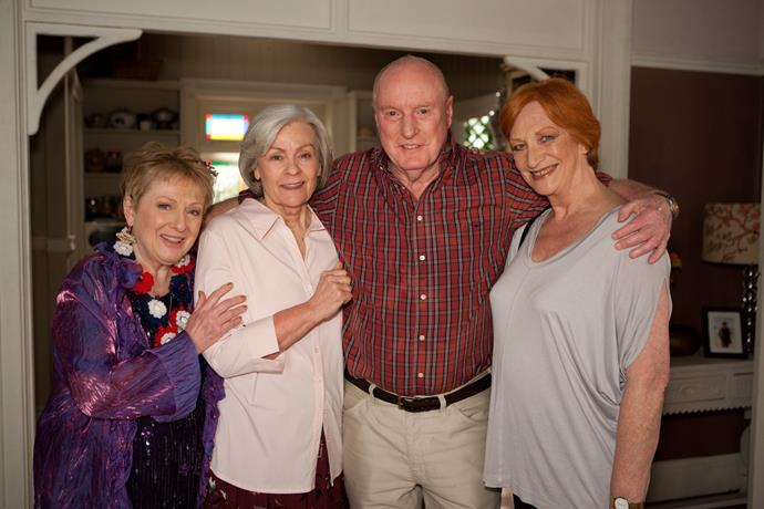Ray with Cornelia (far right) and his other *Home and Away* 'sisters' Lyn Collingwood and Fiona Spence.