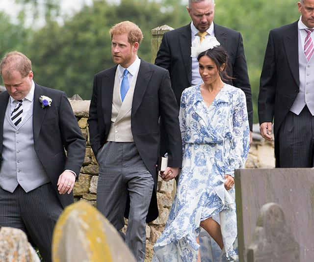 The Duke and Duchess of Sussex arriving at the wedding.