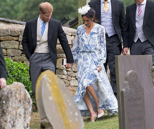 Meghan may not have taken an almost-tumble at Prince Harry's cousin's wedding if she was wearing wedges and not stilettos!