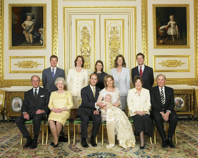 Lord Ivar Mountbatten (back row, far left) is one of Lady Louise Windsor's godparents.