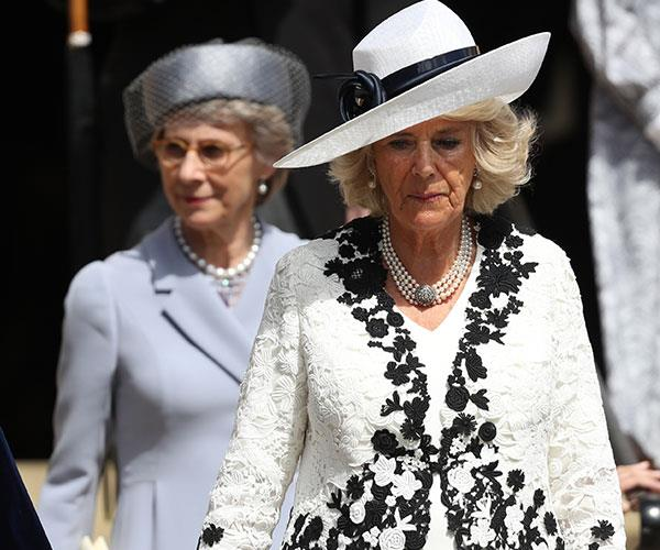 Duchess Camilla opted for a white and black look.