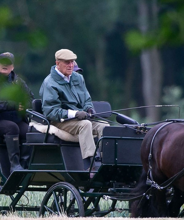 Just two months after hip surgery and Prince Philip is back carriage riding.