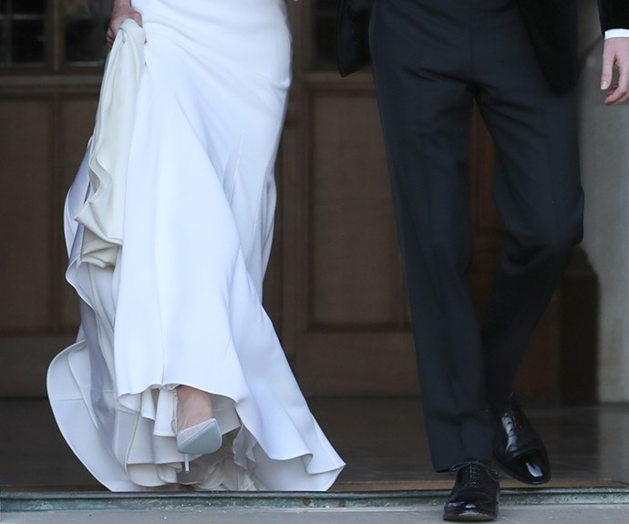 Meghan's reception heels had a blue sole for good luck.