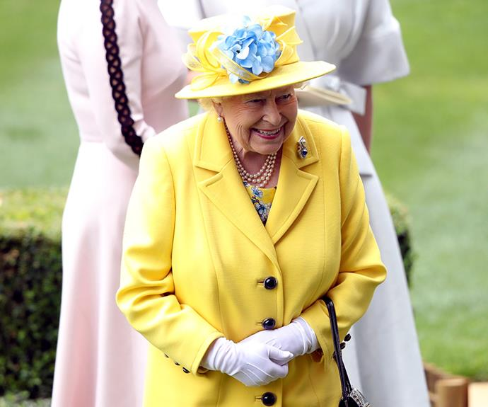 The Queen was noticeably pleased to be at the horse racing event.