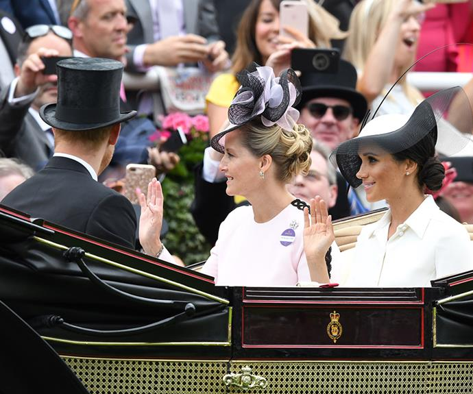 Meghan and Harry arrived in a carriage with Sophie, Countess of Wessex and Prince Edward, Earl of Wessex.
