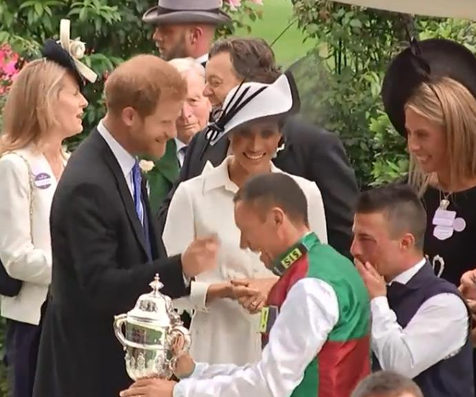 Not too close! A joking Harry wagged his finger at the Italian jockey.
